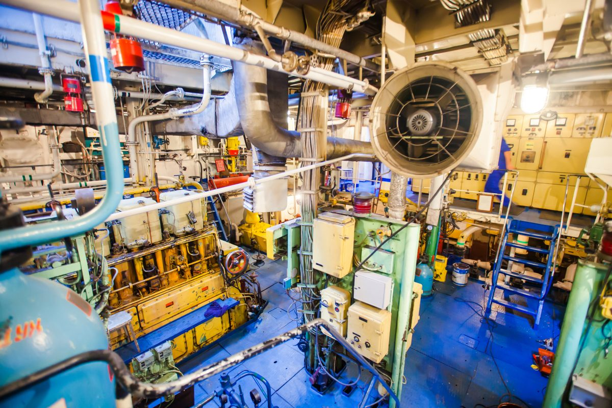 Engine room on a cargo ship